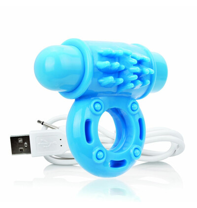 The Screaming O Charged OWow Vibe Ring Blue - Wibrujący pierścień erekcyjny, Niebieski