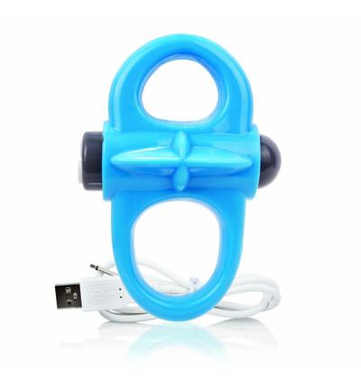 The Screaming O Charged Yoga Vibe Ring Blue - Wibrujący pierścień erekcyjny, Niebieski