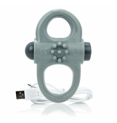 The Screaming O Charged Yoga Vibe Ring Grey - Wibrujący pierścień erekcyjny, Szary