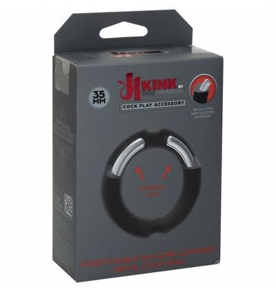 Kink by DocJohnson Hybrid Silicone Covered Metal Cock Ring 35mm - Elastyczny pierścień erekcyjny