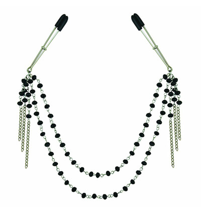 Sportsheets Midnight Black Jeweled Nipple Clips - Zaciski na sutki