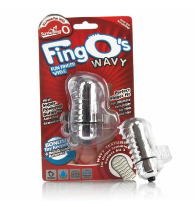The Screaming O The FingO Wavy Clear - Wibrator na palec , Przezroczysty