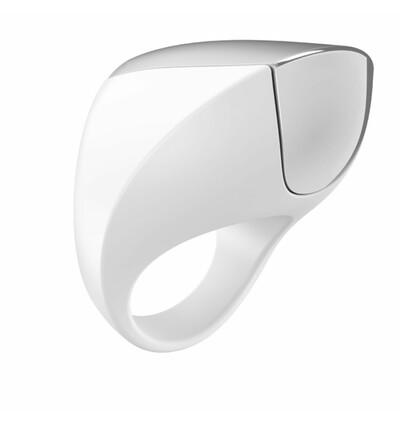 OvoA1 Rechargeable Ring White & Chrome - Wibrujący pierścień erekcyjny, Biały
