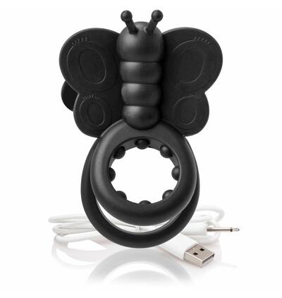 The Screaming O Charged Monarch Wearable Butterfly Vibe Black - Wibrujący pierścień erekcyjny, Czarny