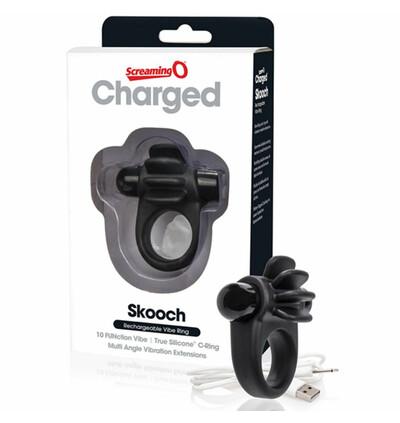 The Screaming O Charged Skooch Ring Black - Wibrujący pierścień erekcyjny, Czarny